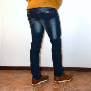 👖Dark Wash Semi-Faded Slim Straight  Jeans 32x30